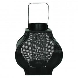SHOGUN - lantaarn - metaal/bamboe - zwart - 23x23x25,5cm