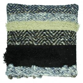 KUSHI - coussin - laine tissée/ jute - noir - 45x45cm