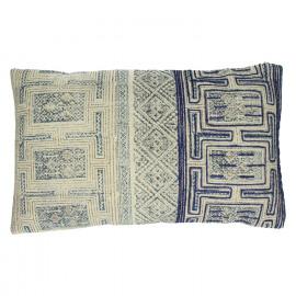 KHOTAN - coussin - coton stone washed - naturel/bleu - 30x50cm