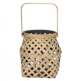 IBARAKI - lantern - bamboo - naturel/black - S - DIA 14,5 x H 15 cm
