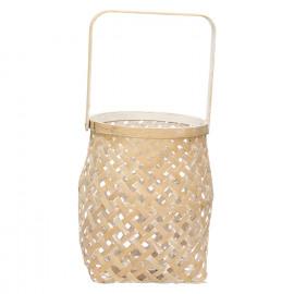 IBARAKI - lanterne - bambou - naturel/blanc - GM - DIA 23 x H 25,5cm