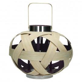 PEP'S - lantaarn - bamboe - naturel/paars - M - DIA 35 x H 30cm