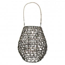LAMPANG - lantaarn - rotan/metaal/glas - L - 25x25x47 cm