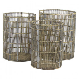 BAN PONG - set van 3 manden - bamboe/hout/metaal/rotan