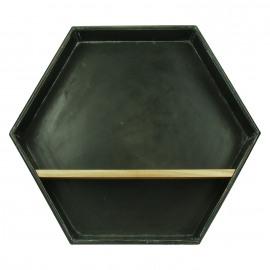 ZEN - zeshoekig rek - metaal/hout - 43x10x37 cm