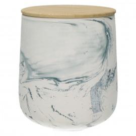 EDGE - voorraadpot - steengoed/hout - gemengde klei -  L -  Ø 13 x H 16 cm