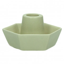 MERCI - kaarsenhouder zeshoekig - steengoed - grijs - 10,2 x 9,1 x 5,2 cm