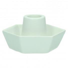 MERCI - kaarsenhouder zeshoekig - steengoed - wit - 10,2 x 9,1 x 5,2 cm