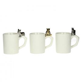 FUNNY - set van 3 mugs beer/eekhoorn/vos - porselein