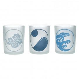 JAPONISM - Set 3 windlichten met japanse motieven - wolk/golf/berg - gezandstraald glas - Ø10x12,5 cm