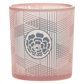 MITSUKO - Windlicht met bloem - gezandstraald glas - Ash Rose - S - Ø7,5x8cm