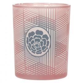 MITSUKO - Windlicht met bloem - gezandstraald glas - Ash Rose- M - Ø10x12,5 cm