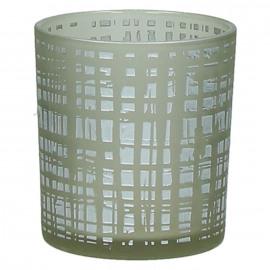 FROZEN - windlicht - glas - DIA 7,5 x H 8 cm - zilver