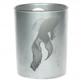 HIDEKAZU - hurricane w/  japonese pattern - fish - sandblasted glass - silver - Ø10x12,5 cm