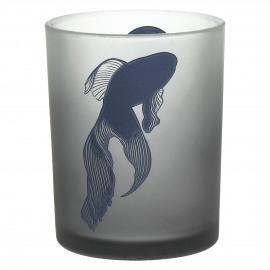 HIDEKAZU - photphore motif japonais - poisson - verre sablé - smoke - Ø10x12,5 cm