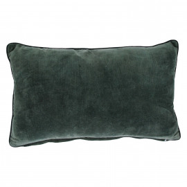 BETISE - cushion - 100% cotton velvet - grey/piping black - 30x50cm