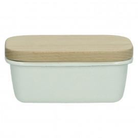 SHIRACHA - botervloot - 0,5L - geëmailleerd metaal/hout - wit - 15x10x5,5cm