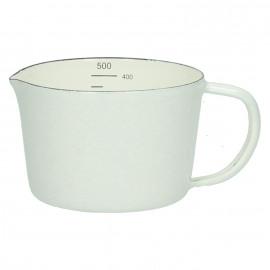 SHIRACHA - measuring cup - 0,5L - enamelled metal - white - S - DIA 10 x H 7cm