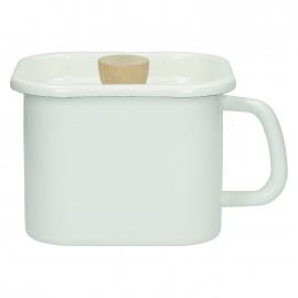 SHIRACHA - keuken pot met deksel - geëmailleerd metaal - wit - 15x15x11cm