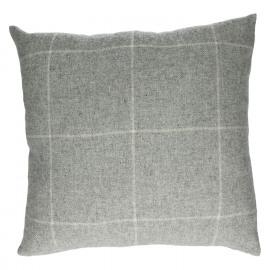 MR DARCY - kussen - wool/bamboo blend - geruit grijs/ecru - 45x45 cm