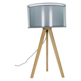 LISBON - Tripod Table lamp - E27 - beech - double shade PVC crystal and cotton - naturel - M - 65 x  Ø35 cm