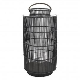 ASHI - lantaarn - bamboe - metaal - zwart - XL - 100 x Ø 50 cm