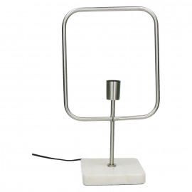 ASTI - table lamp - E27 - geometric - metal - marble - finish pewter - black cable cotton - 21 x 29 x 47 cm