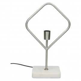 ASTI - table lamp - E27 - geometric - metal - marble - finish pewter - black cable cotton - 18x28x50