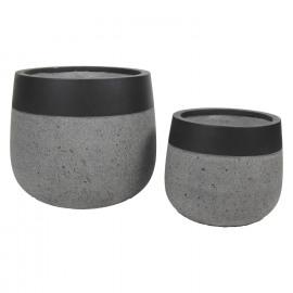 CITY'ZEN - Set/2 bloempotten - ficonstone - grijs beton - zwarte rand - 48 x Ø 55 / 40,5 x Ø 36 cm
