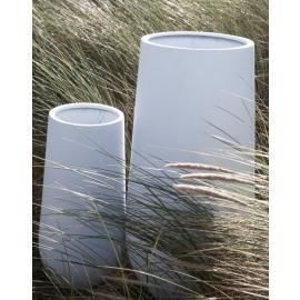 CITY'ZEN - Set/2 bloempotten - fiberglass - mat wit - 70 x Ø 33,5 / 100 x Ø 50 cm