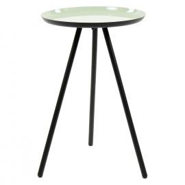 CALDEROS - Bijzettafel - zwart metalen voeten - licht groen geëmailleerd top - M - 57 x Ø 36 cm
