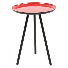 CALDEROS - Bijzettafel - zwart metalen voeten - rode geëmailleerd top - S - 47 x Ø 36 cm