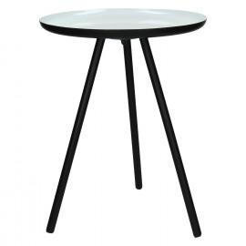 CALDEROS - Bijzettafel - zwart metalen voeten - wit geëmailleerd top - S - 47 x Ø 36 cm