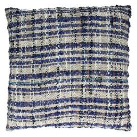 SWEETY - coussin - 100% coton - noir naturel bleu- 45x45cm