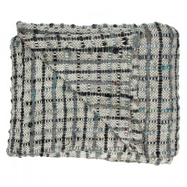 COCOONING - throw with big checks -  - 100% cotton - black & blue - 125x150cm