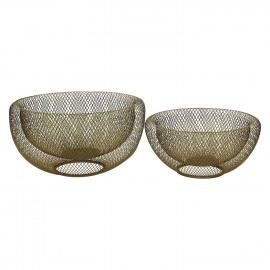 KABU - set of 2 baskets - metal - gold