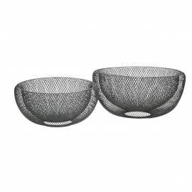 KABU - set of 2 baskets - metal - DIA 24/29 x H 12/15 cm - silver