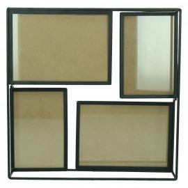 WALLY - fotokader 4 fotos - metaal - zwart - 30x8x30 cm