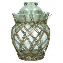 MING- pot a/couvercle - verre - rotin - gris - S - 19 x Ø29 cm