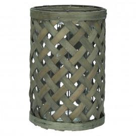 YANGI - Windlicht - hout - metaal - glas -  M- 17 x 27 cm