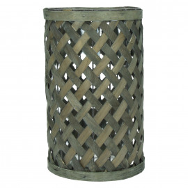 YANGI - Windlicht - hout - metaal - glas - L - 19 x 31 cm