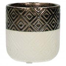STYLISTIC - bloempot - fijn aardewerk - reactief goud - S -  Ø 8,8 x H 8,8 cm