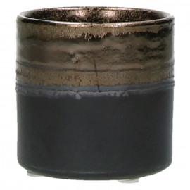 STYLISTIC - bloempot - fijn aardewerk - reactief goud - S - Ø 7,5 x H 7,5 cm
