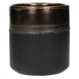 STYLISTIC - bloempot - fijn aardewerk - reactief goud - M - Ø 11 x H 12 cm