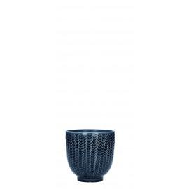 COCOONING - cachepot - faïence - bleu fonçé - PM - Ø10,5 x H10,5 cm