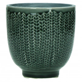 COCOONING - bloempot - fijn aardewerk - donkergroen - S - Ø10,5 x H10,5 cm