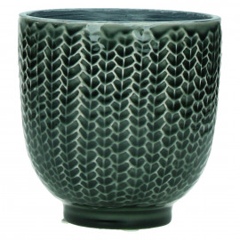 COCOONING - flowerpot - ceramic - dark green - M - Ø12,5 x H12,5 cm