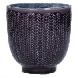 COCOONING - cachepot - faïence - pourpre fonçé - PM - Ø10,5 x H10,5 cm