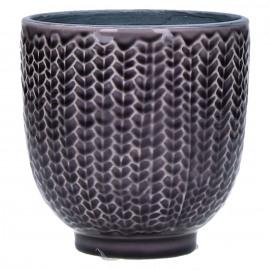 COCOONING - cachepot - faïence - pourpre fonçé - MM - Ø12,5 x H12,5 cm
