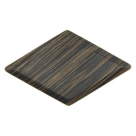 MIYUKI - Ruitvormig schoteltje - hout multiplex - zwart - 29,5 x 17 cm